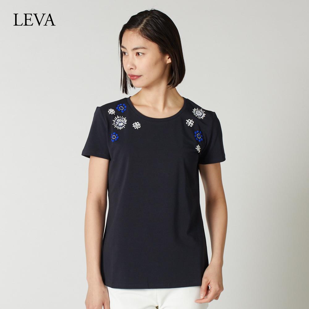 マックスマーラ ウィークエンド レディース 花柄ビーズ Tシャツ カットソー MAXMARA WEEKEND LEVA 59411097600 ネイビー系
