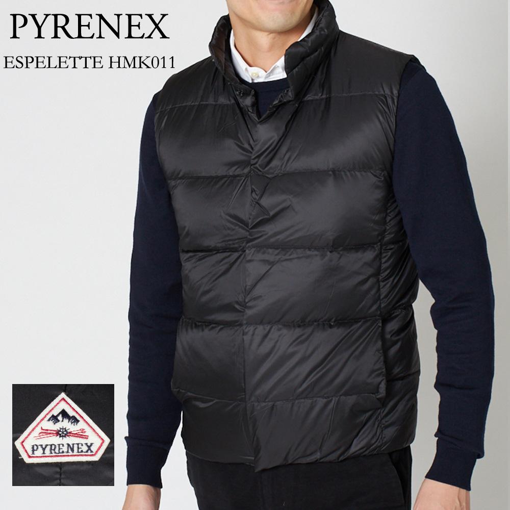 ピレネックス ダウンベスト PYRENEX ESPELETTE HMK011 ブラック(BLACK)