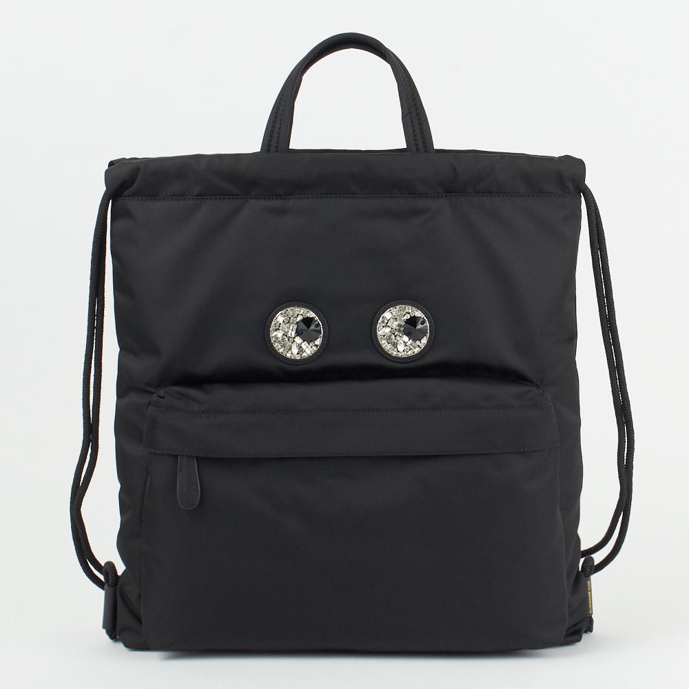 アニヤハインドマーチ ANYA HINDMARCH リュックサック バックパック 【Mini Crystal Eyes Drawstring Backpack】 139182 ブラック(黒) 【bgl】【bkb】