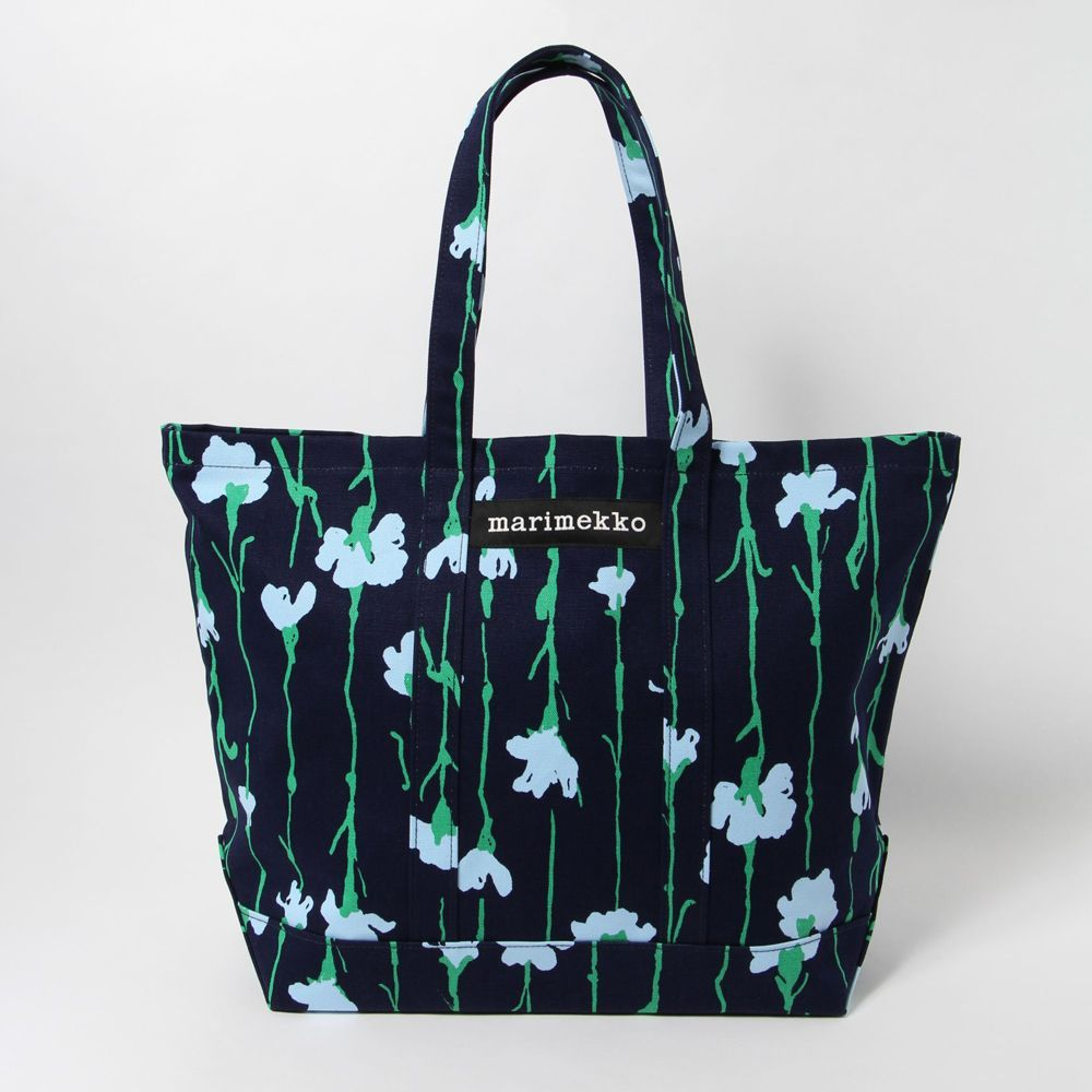 マリメッコ トートバッグ VIIVAKUKKA PERUSKASSI 48310 565 DARK BLUE/GREEN/LIGHT BLUE MARIMEKKO