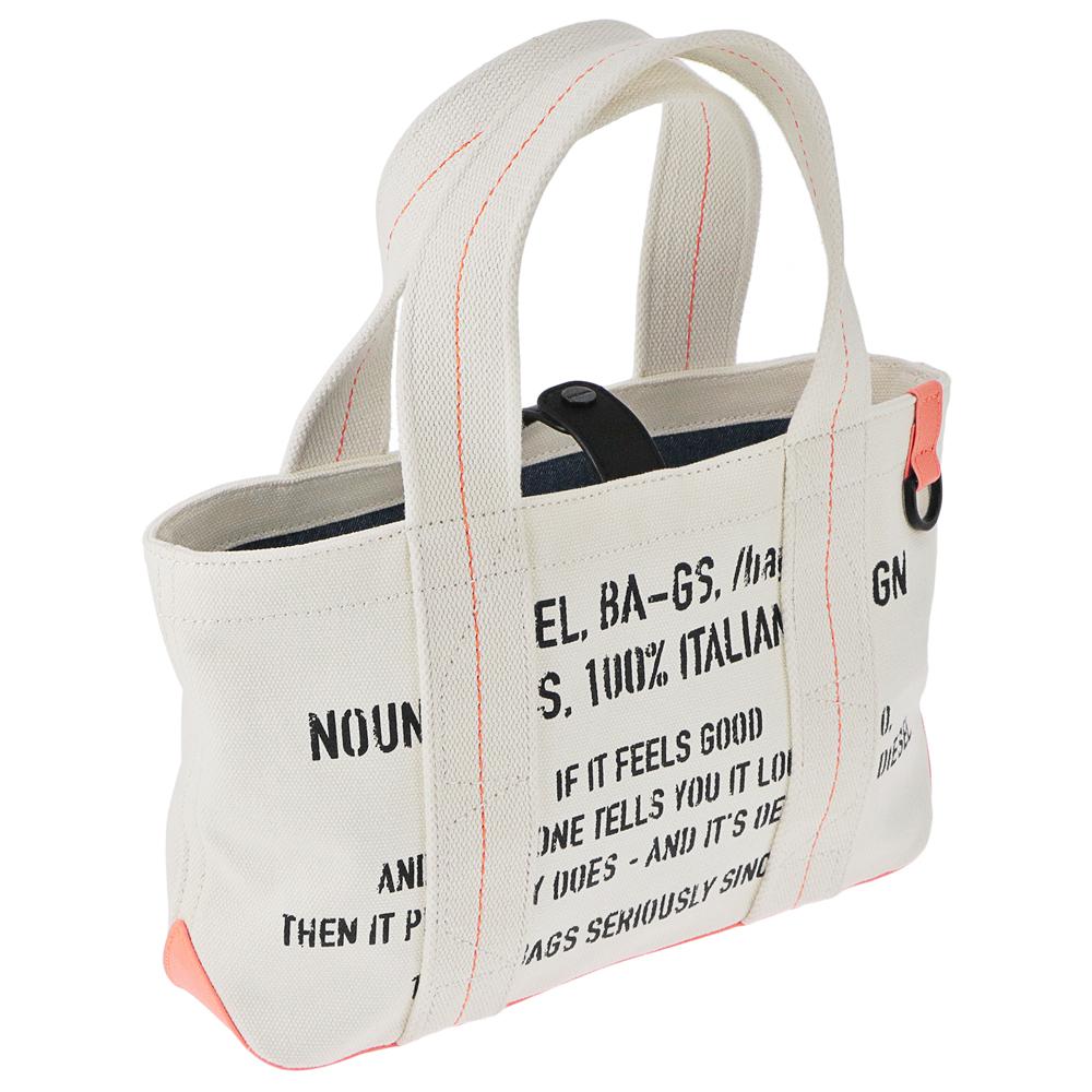 ディーゼル トートバッグ F MHICO SHOPPER S X05533 PR012 ホワイト系(T2018 WHITE/ORANGE) DIESEL