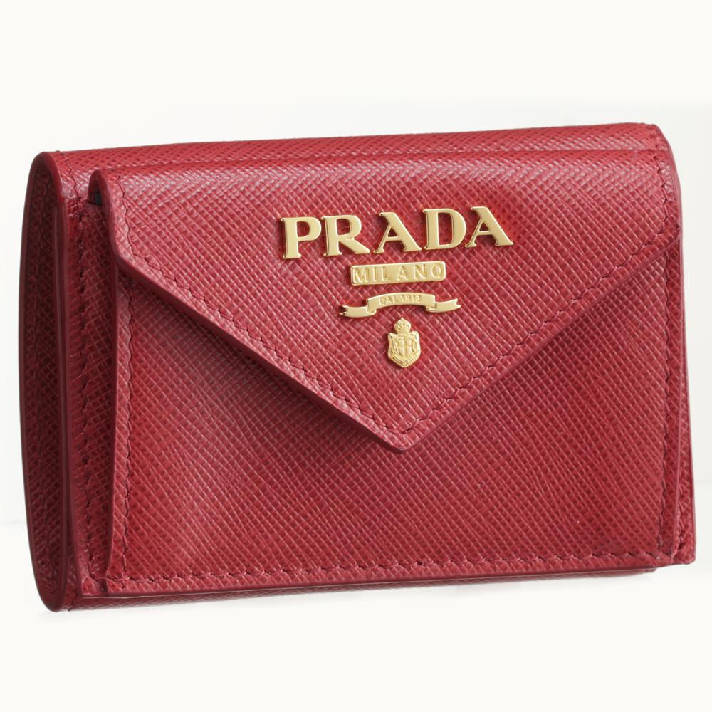プラダ PRADA 折財布 1MH021 QWA レッド系(F068Z FUOCO) 【skl】