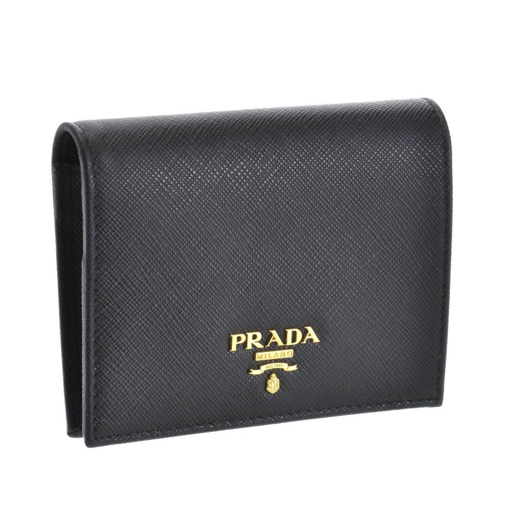 プラダ PRADA 財布 折財布 1MV204 QWA F0002 【SAFFIANO METAL】 NERO 【skl】