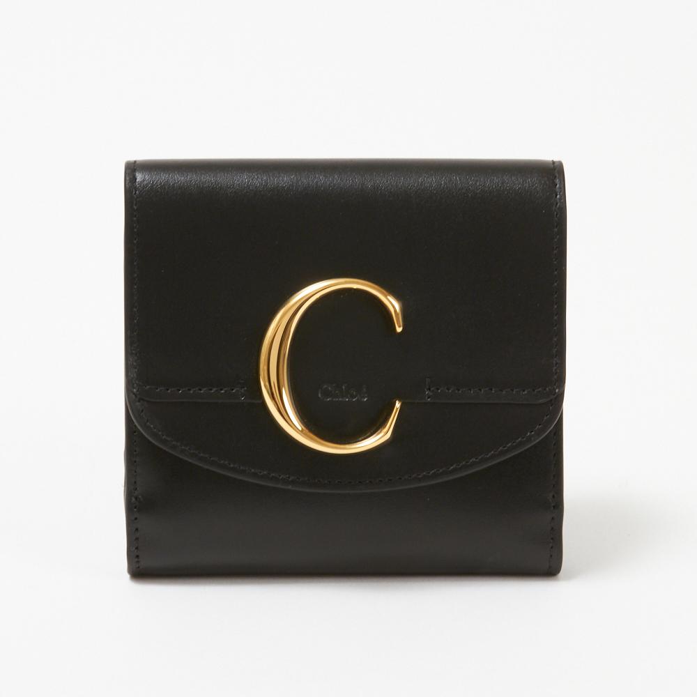 【訳あり】【K-12】クロエ CHLOE 折財布 【CHLOE C:クロエ シー】 CHC19SP056A37 ブラック(001/BLACK)