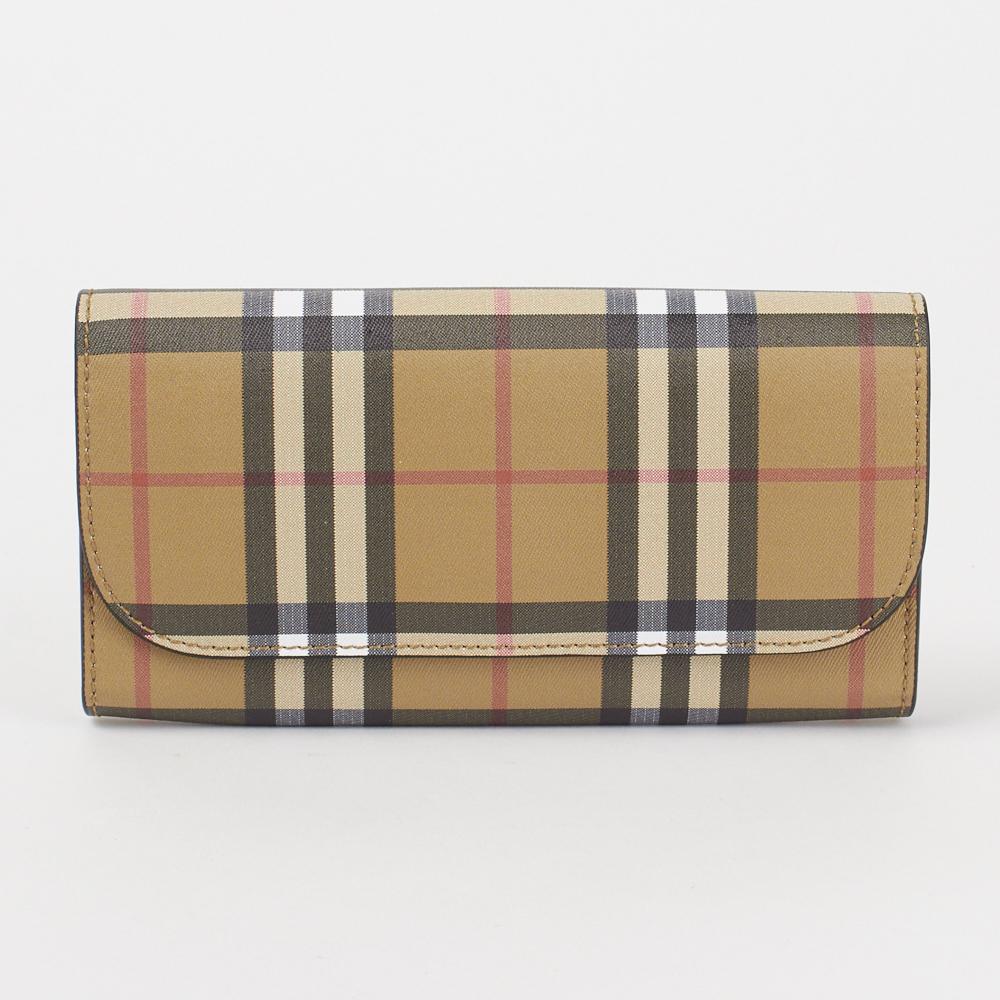 バーバリー 長財布 【Vintage Check&Leather Continental Wallet】 4071410 BLACK BURBERRY 【skm】【skl】