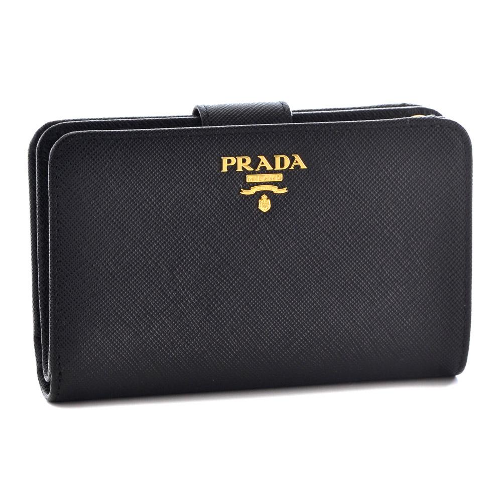 プラダ 財布 折財布 PRADA 1ML225 QWA F0002 NERO 【SAFFIANO METAL ORO】 【skl】