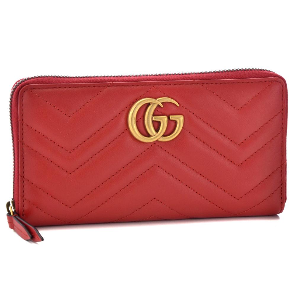 グッチ GUCCI 長財布 443123 DRW1T 6433 HIBIS RED/HIBIS RED 【GG MARMONT:GGマーモント】