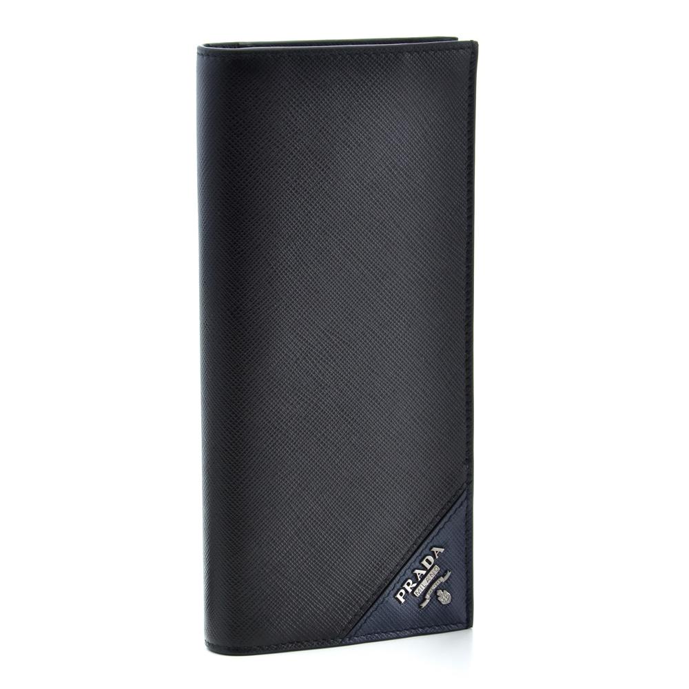 プラダ PRADA 財布 長財布 2MV836 QME F0G52 【SAFFIANO METAL】 NERO+BALTICO 【skm】