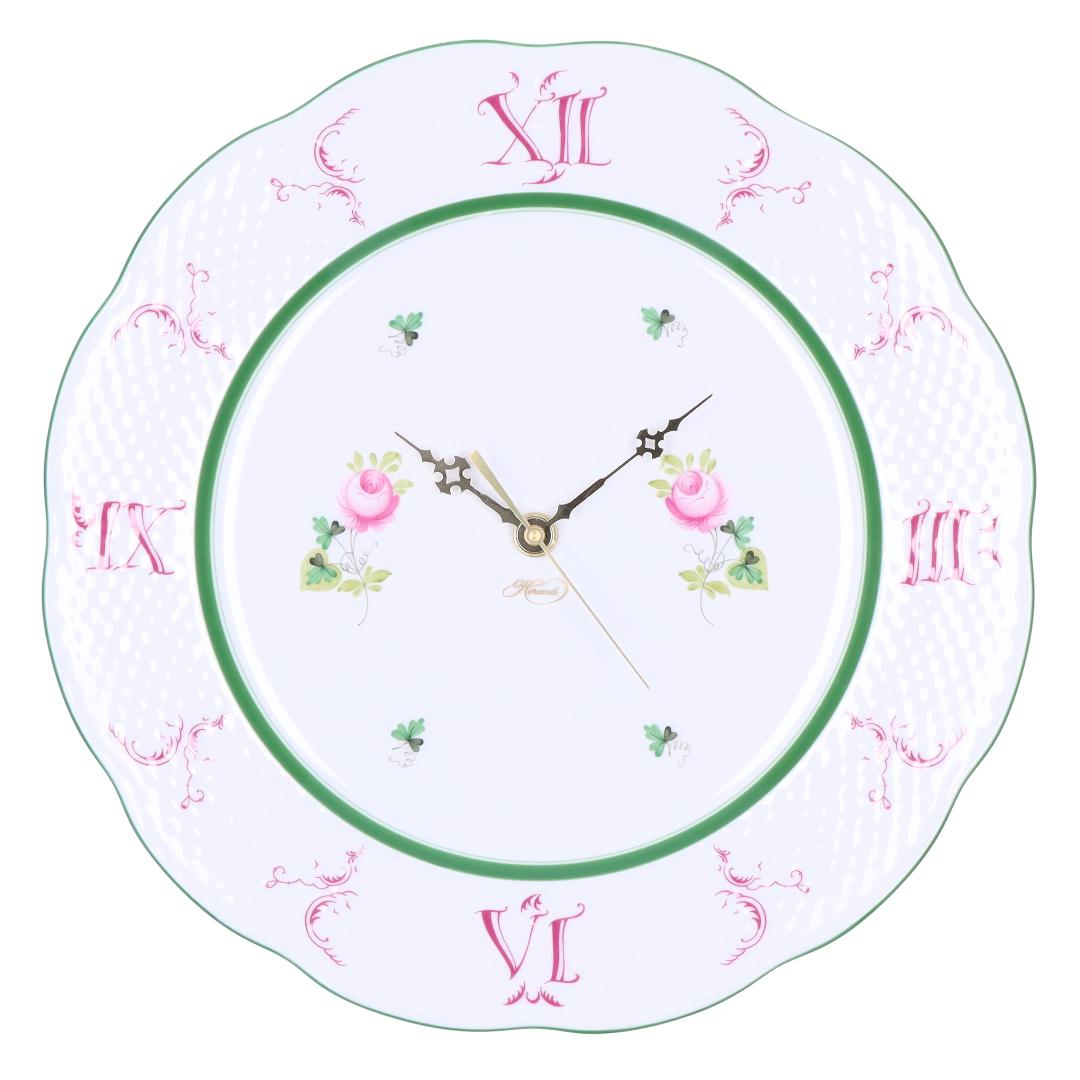 ヘレンド HEREND 皿時計 掛け時計 壁掛け時計 ウィーンの薔薇 VIEILLE ROSE D'HABSBOURG ヴィエイユ・ローズ・ハプスブルク VRH ウォールクロック 527 【お取り寄せ】