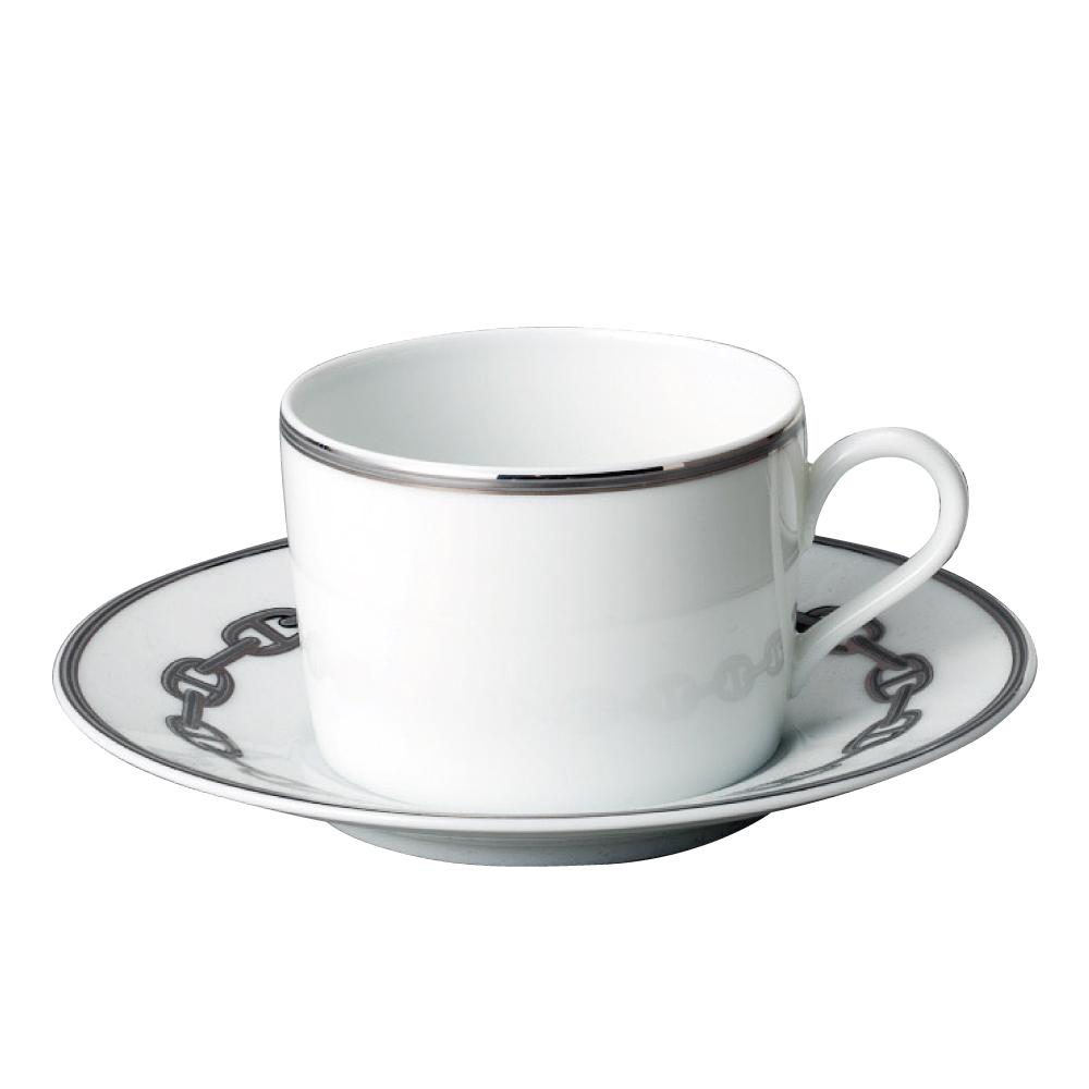 エルメス HERMES ティーカップ&ソーサー シェーヌダンクルプラチナ 4116 チェーンダンクル 【お取り寄せ】