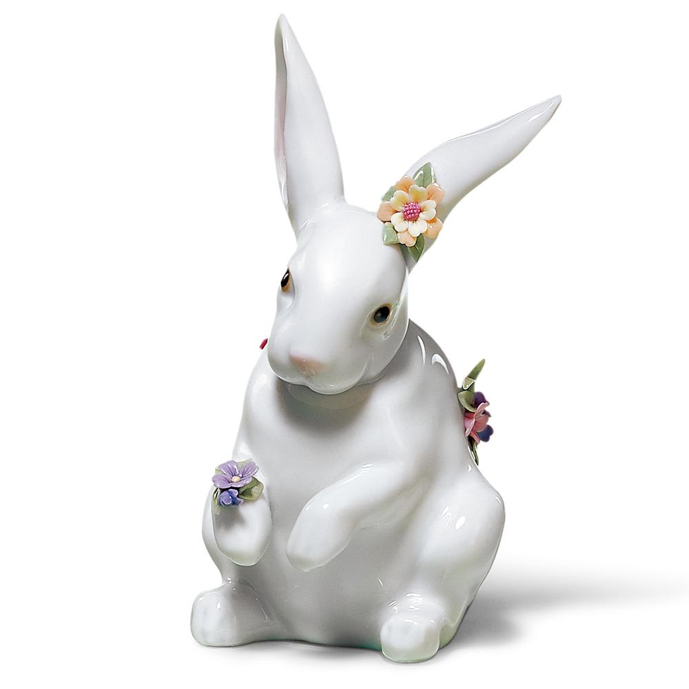 リヤドロ LLADRO 花飾りの白うさぎ(4) 置物 フィギュアオーナメント 6100 【お取り寄せ】