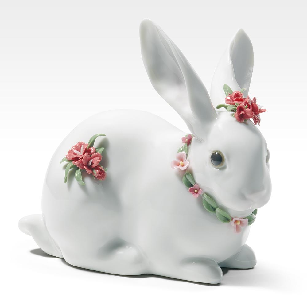 リヤドロ LLADRO 花飾りの白うさぎ(2)(カーネーション) 置物 フィギュアオーナメント 7578