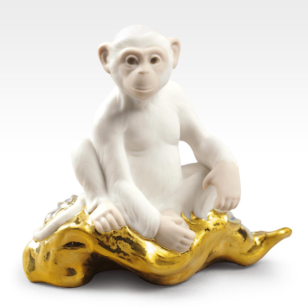 リヤドロ LLADRO The monkey-小 置物 フィギュアオーナメント 9175 【お取り寄せ】