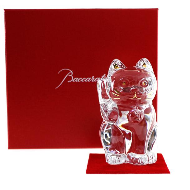 バカラ 置物 フィギアオーナメント 招き猫 クリア 【2607-786】 【バカラ:Baccarat】 【お取り寄せ】