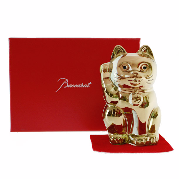 バカラ 置物 フィギアオーナメント 招き猫 ゴールド 【2612-997】 【バカラ:Baccarat】 【お取り寄せ】