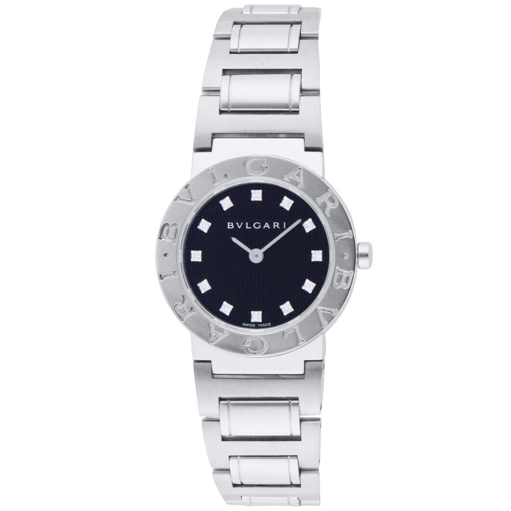 ブルガリ BVLGARI 腕時計 レディースウォッチ BB26BSS/12 ブルガリブルガリ 12ポイントダイヤ ブラック×シルバー 26mm 【お取り寄せ】【wcl】 【お取り寄せ】【wcl】