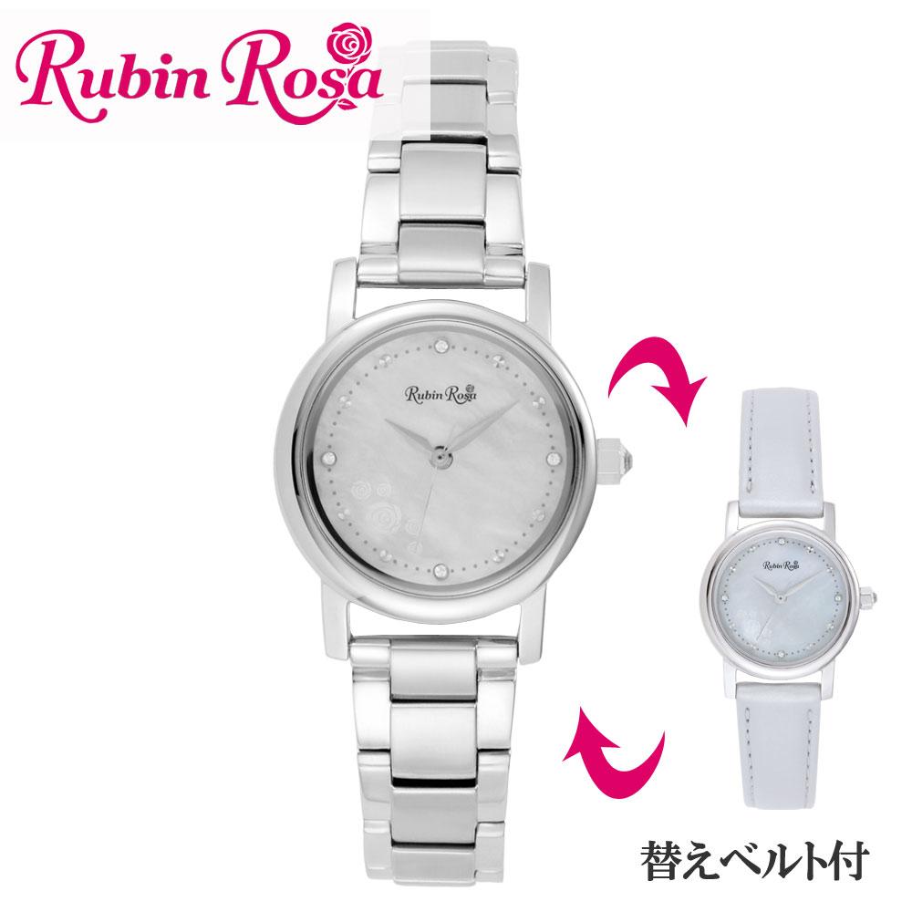 ルビンローザ RUBIN ROSA 時計 腕時計(レディース) R026SOLSWH ホワイトシェル