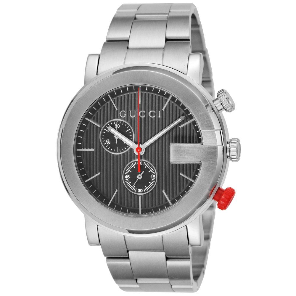 グッチ GUCCI 腕時計 メンズウォッチ Gクロノ YA101361 ブラック×シルバー 【wcm】