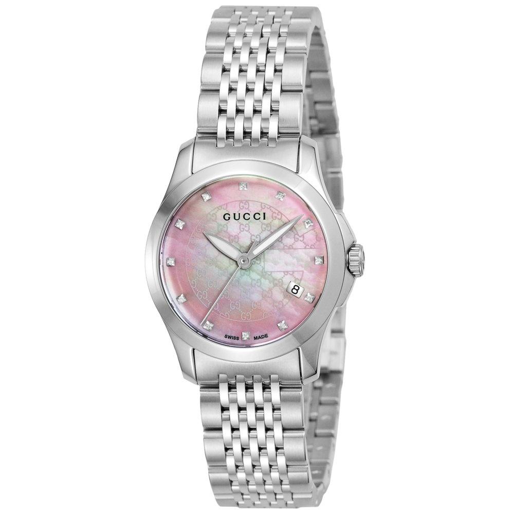 グッチ GUCCI 腕時計 レディースウォッチ Gタイムレス YA126534 12pダイヤ付ピンクシェル×シルバー 【お取り寄せ】【wcl】【knf】