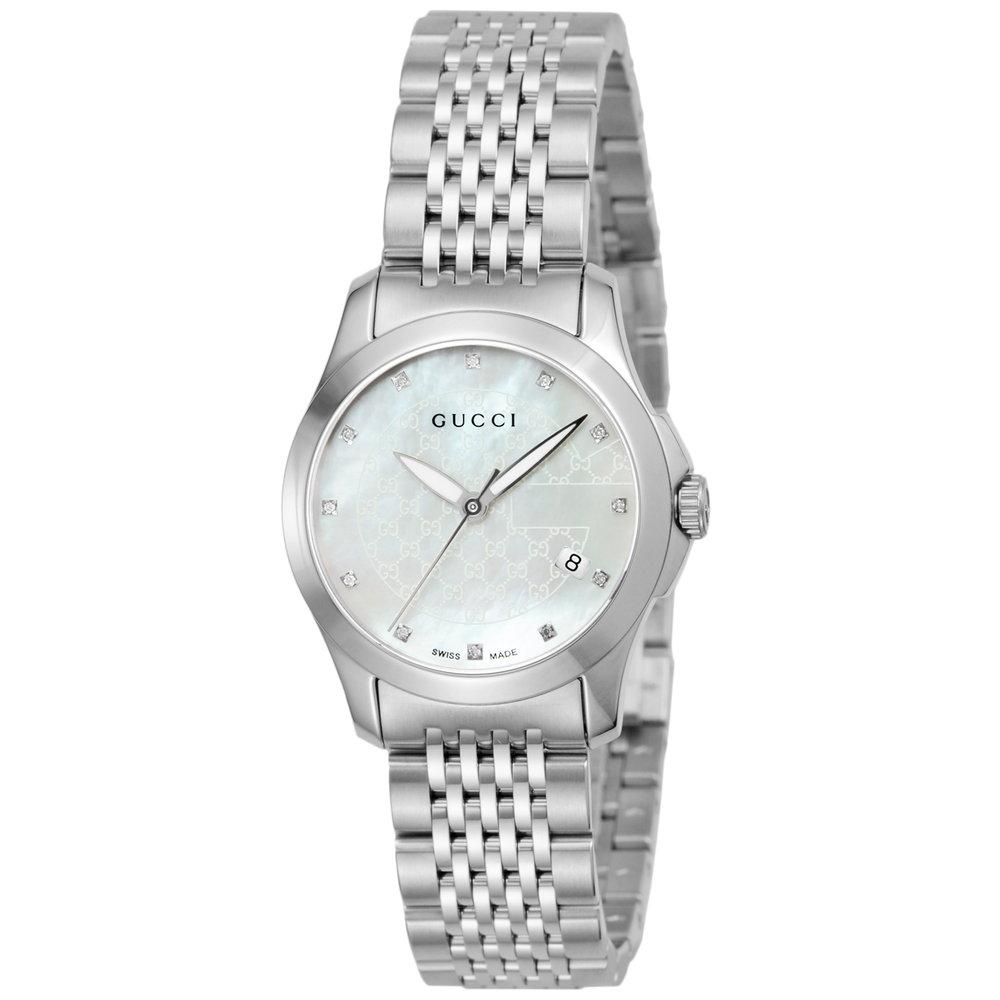 グッチ GUCCI 腕時計 レディースウォッチ Gタイムレス YA126535 12pダイヤ付ホワイトシェル×シルバー 【お取り寄せ】【wcl】 【お取り寄せ】【wcl】