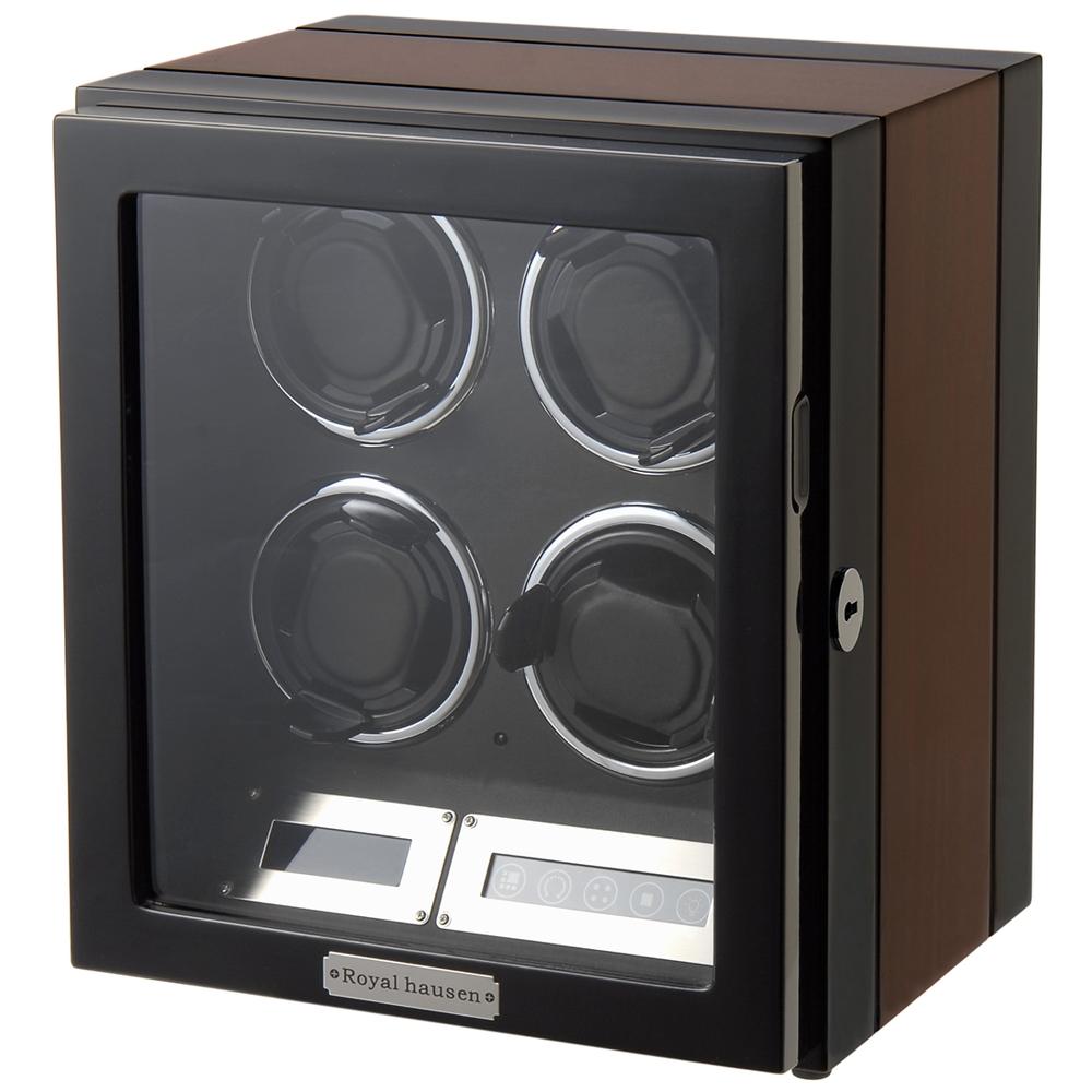 ロイヤルハウゼン 送料無料 激安 お買い得 キ゛フト ウォッチワインダー 最新アイテム 時計 ワインディングマシーン GC03-Q21EB 4本巻き HAUSEN wcl wcm BRONW BLACK ROYAL