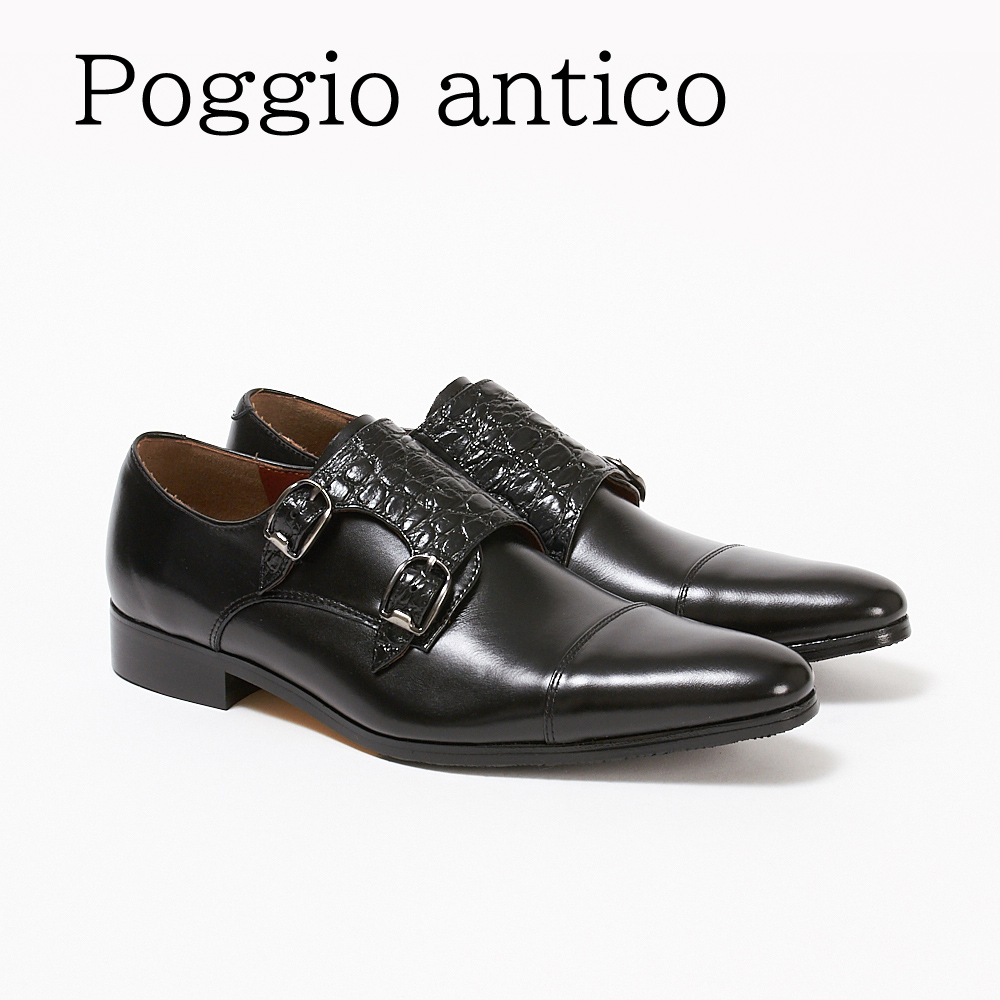 ポッジオ アンティコ 靴 メンズ ビジネスシューズ ダブルモンク 1502 クロコ BLACK POGGIO ANTICO 【zkk】【ssm】【gdm】