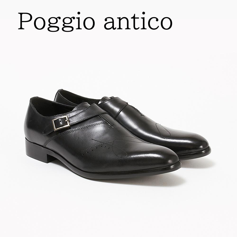 ポッジオ アンティコ 靴 メンズ ビジネスシューズ 【シングルモンク】 1902 BLACK POGGIO ANTICO 【zkk】