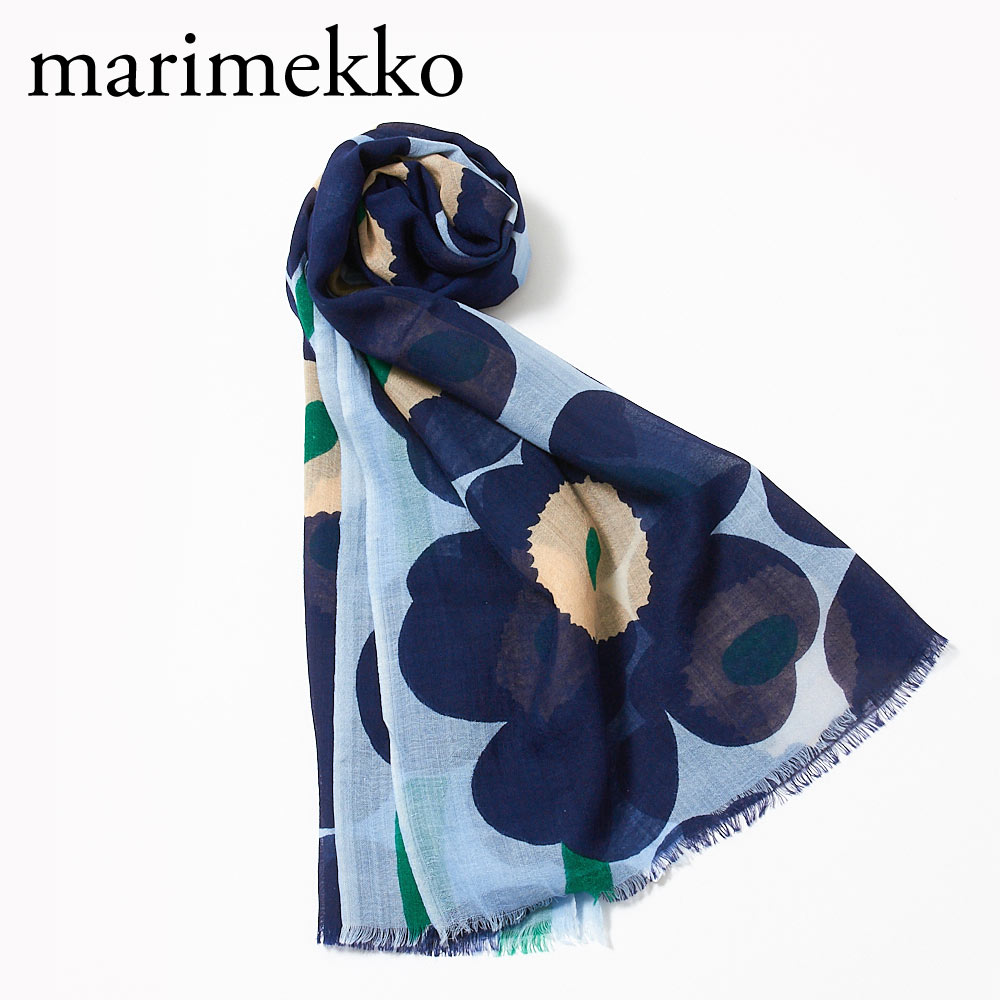 マリメッコ ストール FIORE PIENI UNIKKO 048374 556 DARK BLUE/LIGHT BLUE/GREEN MARIMEKKO