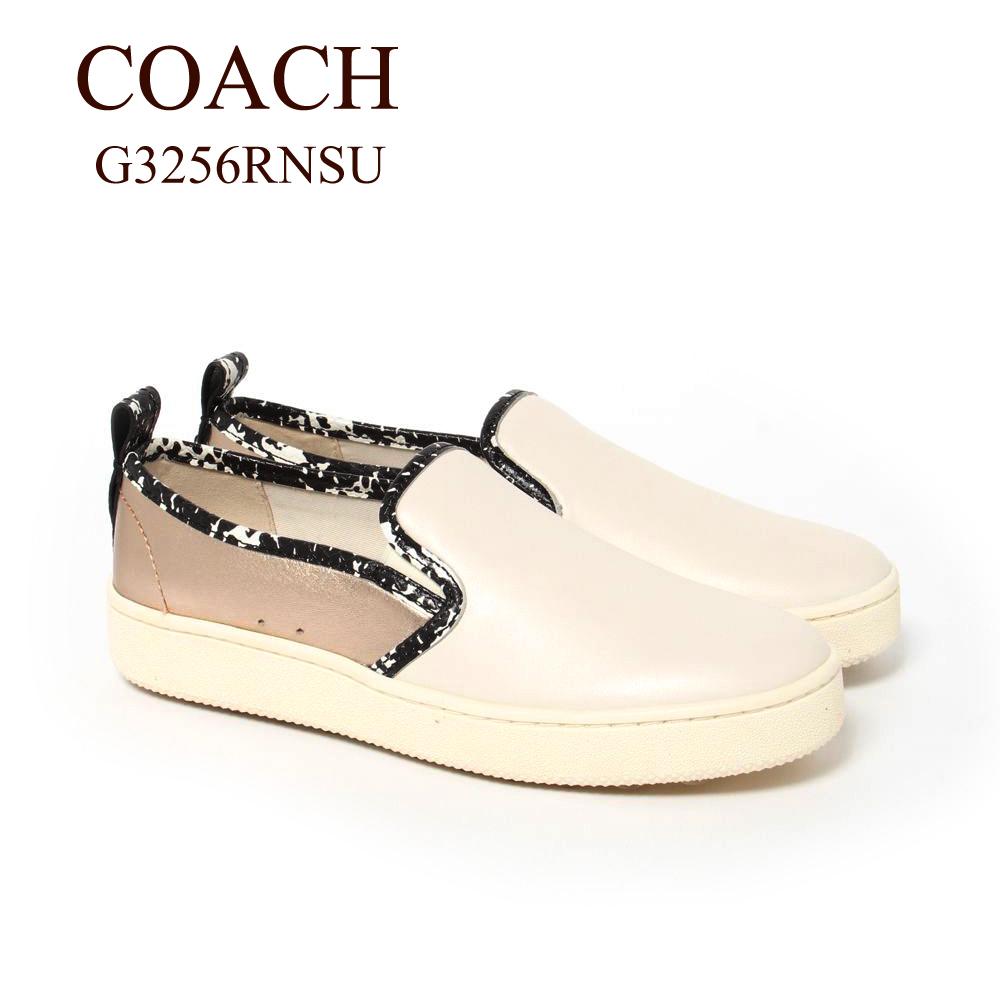 コーチ スニーカー スリッポン COACH G3256RNSU ホワイト系(O8N/Chalk/Natural/Champagne)