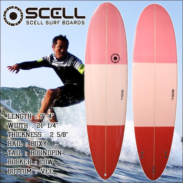 サーフボード ファンボード 7'4 ワントーン ピンク FCS対応 フィン付属 サーフィン 初心者 中級者 SCELL