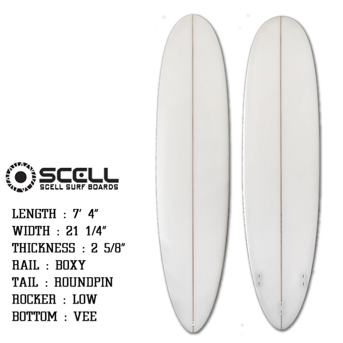 サーフボード ファンボード 7'4 初心者 中級者 ホワイト 白 FCS対応 フィン付属 サーフィン SCELL