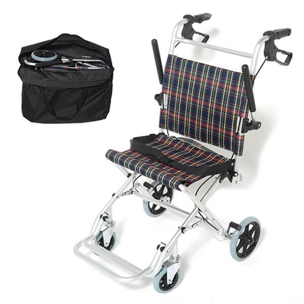 [送料無料] 軽量 折りたたみ 車いす 介助用 旅行用車椅子 介助ブレーキ付き ノーパンクタイヤ