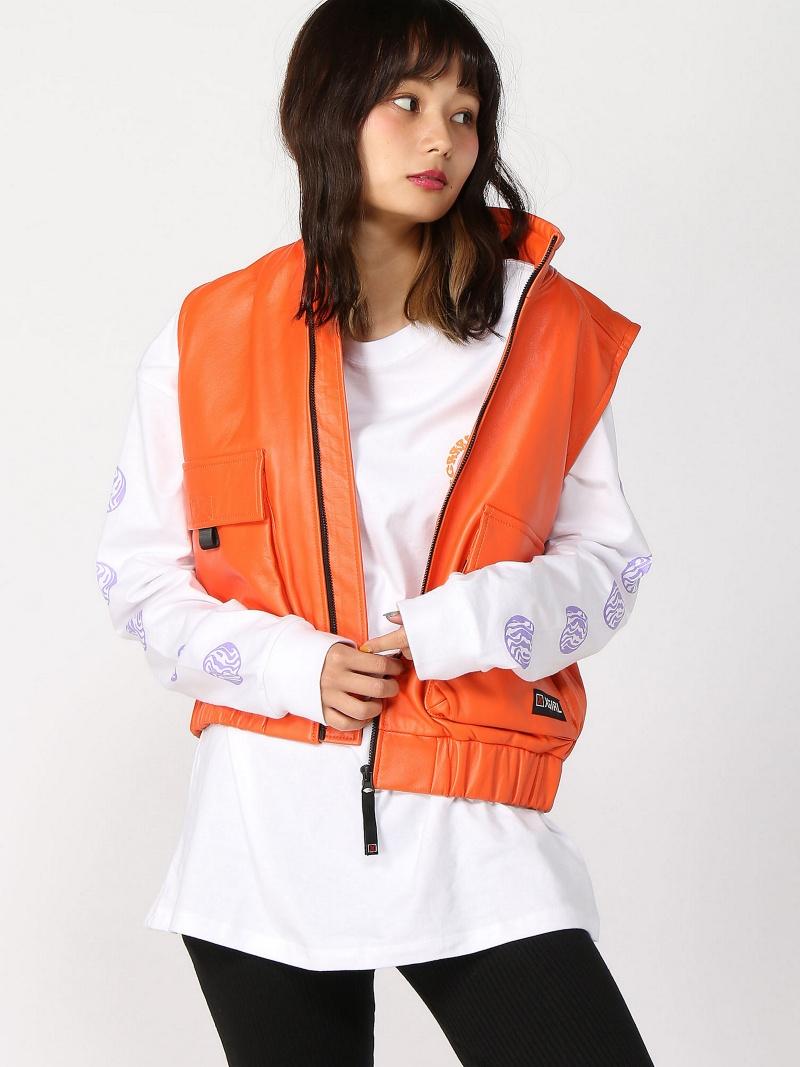 [Rakuten BRAND AVENUE]ZIP-UP LEATHER VEST X-girl エックスガール コート/ジャケット【送料無料】