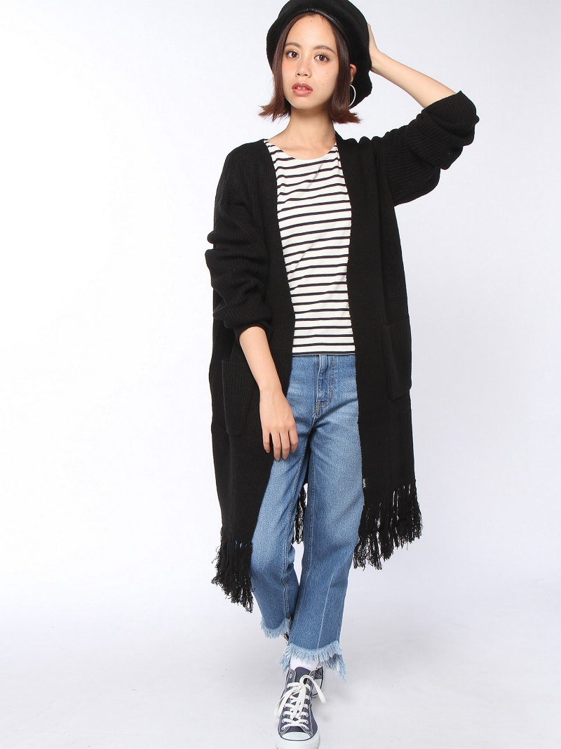 [Rakuten BRAND AVENUE]【SALE/30%OFF】FRINGE KNIT LONG CARDIGAN X-girl エックスガール ニット【RBA_S】【RBA_E】【送料無料】
