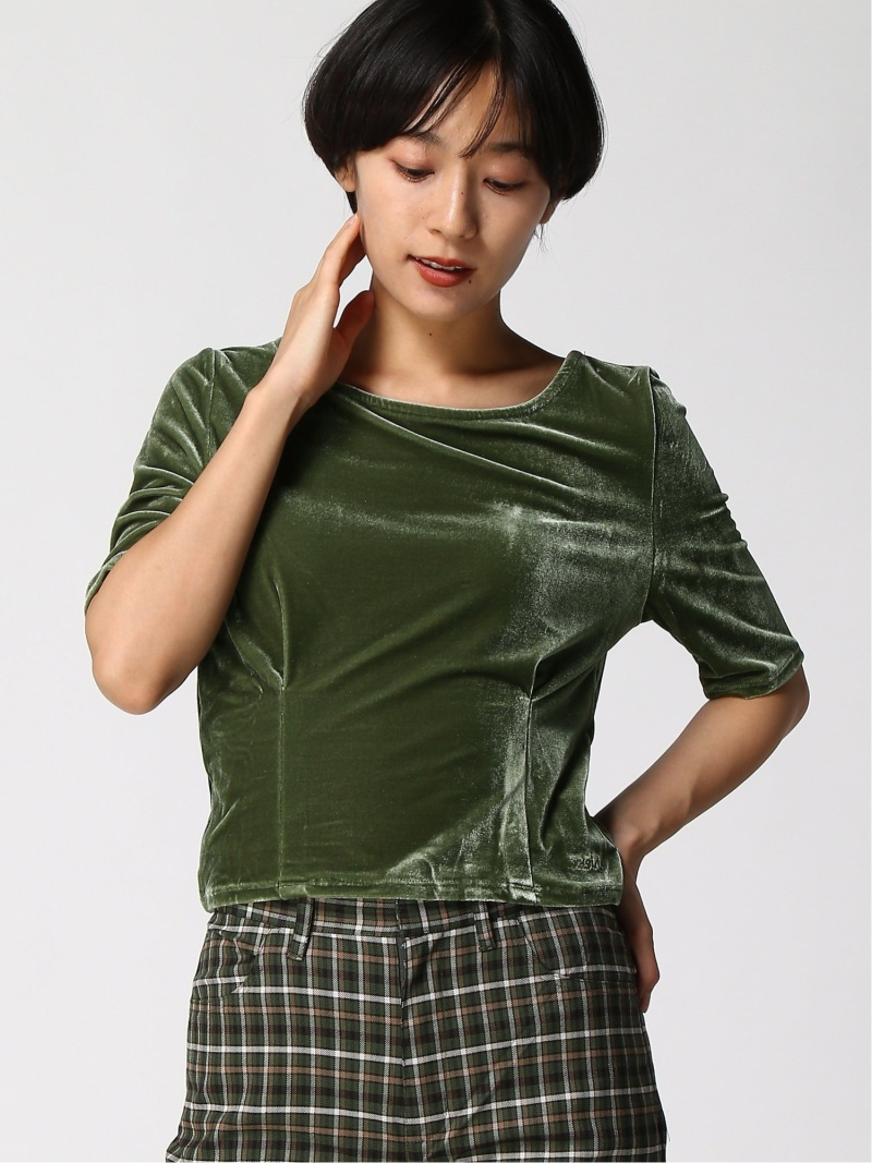 [Rakuten Fashion]VELOUR S/S TOP X-girl エックスガール カットソー カットソーその他 グリーン ピンク【送料無料】