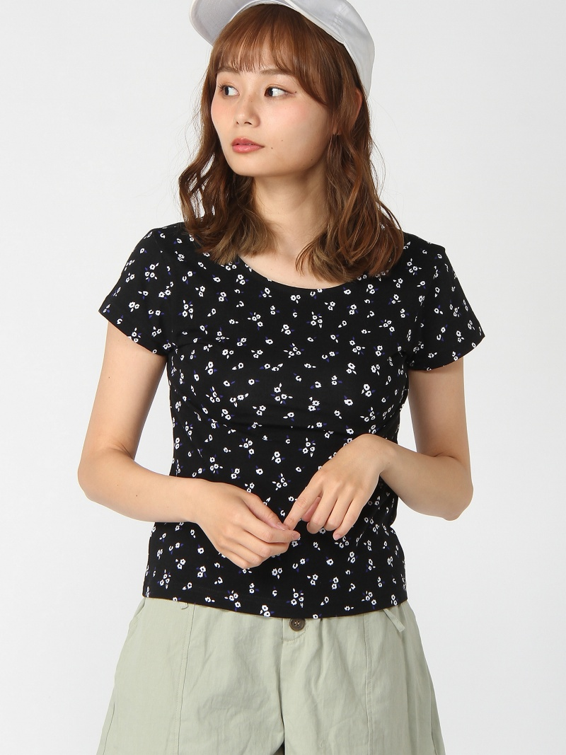 [Rakuten Fashion]FLORAL BABY TEE X-girl エックスガール カットソー Tシャツ ブラック パープル カーキ【送料無料】