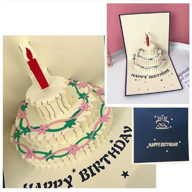 バースディ3D立体剪紙 中国伝統 民族雑貨 飛び出すカード 人気 おすすめ ポップアップカード 立体切り絵 誕生日ケーキ グリーティングカード 70%OFFアウトレット