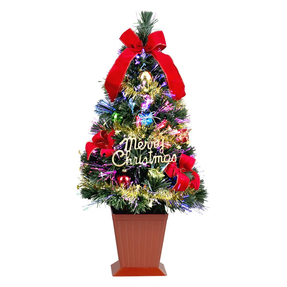 クリスマスツリー ファイバー セットツリー 60cm ポット付 レッド LED ファイバー 卓上 おしゃれ