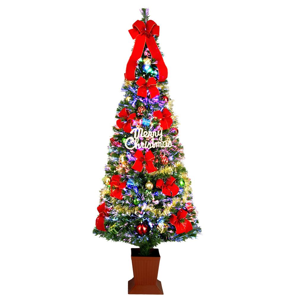 クリスマスツリー ファイバー セットツリー 180cm ポット付 レッド LED ファイバーツリー おしゃれ 北欧 分割型で小さく収納できます 【11月上旬入荷予定】