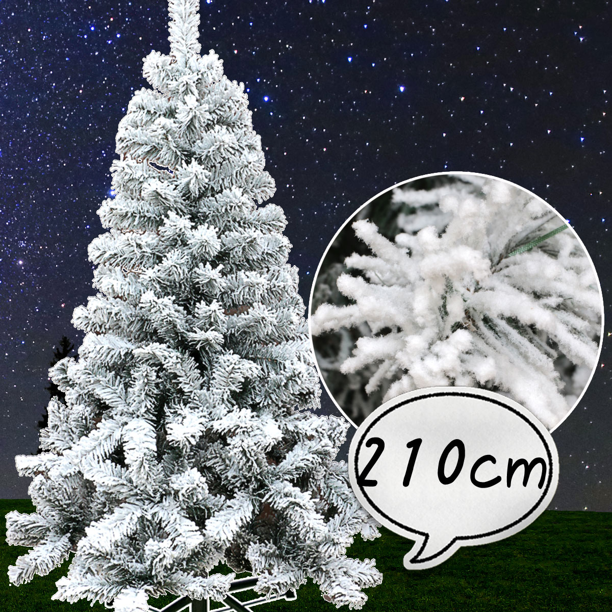 クリスマスツリー210cm フロスト 雪 スノーツリー ワイド 北欧 おしゃれ