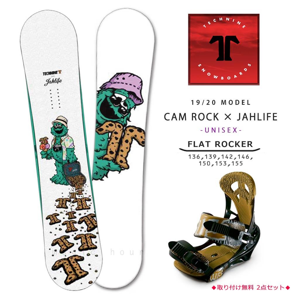 スノーボード 板 メンズ レディース 2点 セット 2020 TECH NINE テックナイン CAM ROCK×JAHLIFE フラット ロッカー グラトリ パーク かわいい キャラクター 白