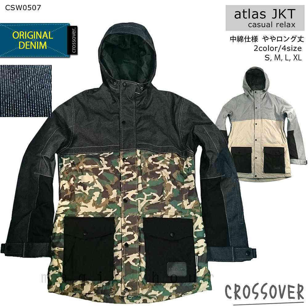 スノーボード スノボー ウェア メンズ レディース スリム 細身 デニム ジャケット 上 crossover クロスオーバー atlas jacket CSW0507 切り替え
