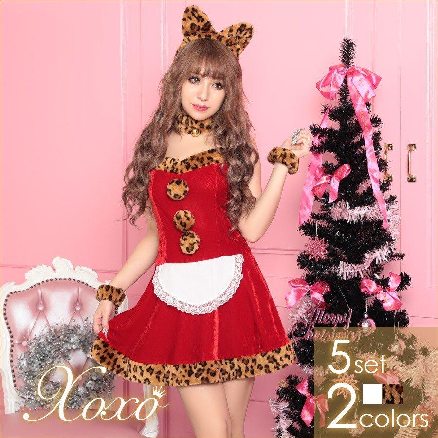 サンタ コスプレ 2019 衣装 サンタコス クリスマス Xmas 衣装 5点セット かわいい サンタ 猫耳メイドデザインサンタコスチュームセット レオパード柄