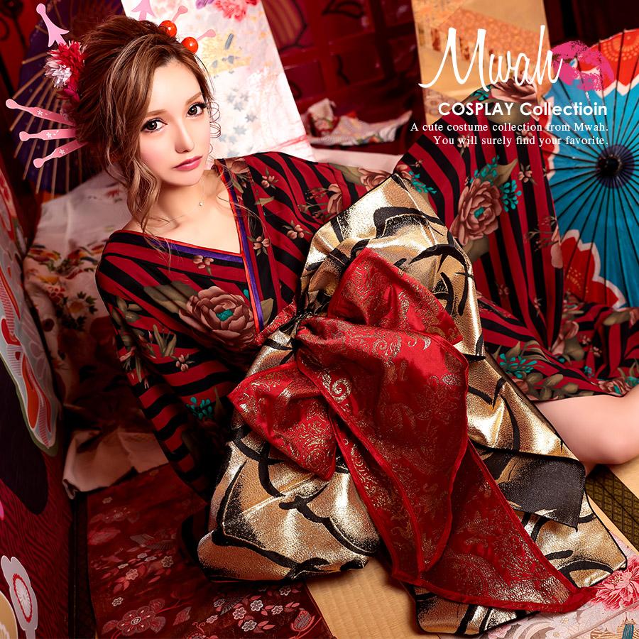 コスプレ ハロウィン 2020 花柄 簡単 花魁 コスチューム 着物 帯 大人 レディース 仮装 和装 和服 お化けの日 ストライプ 花魁コスプレ和装ドレスコスチュームセット