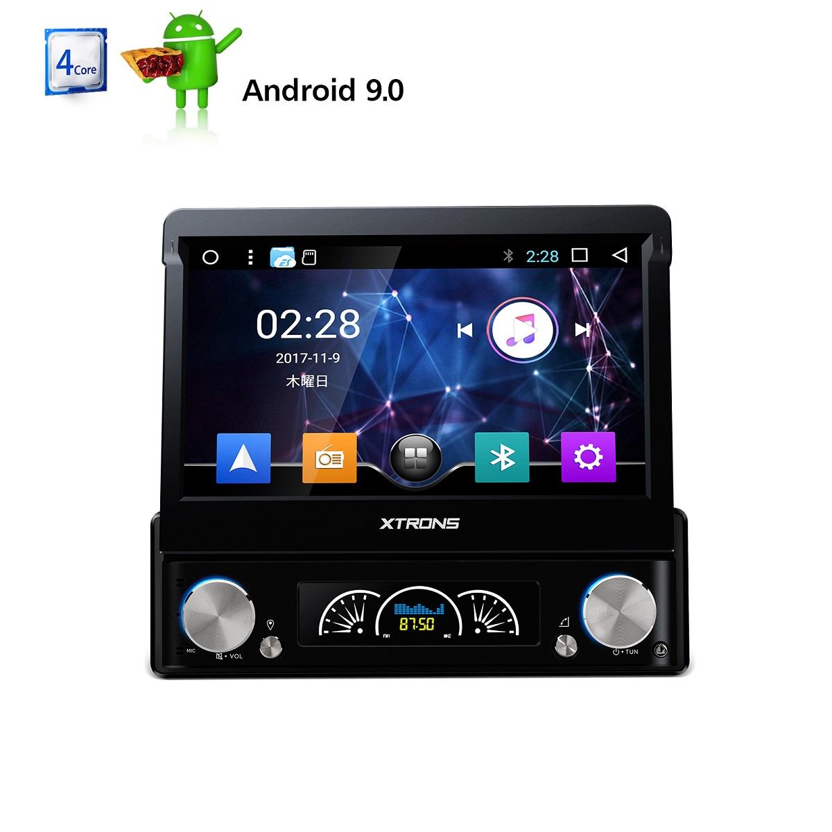 (D739AS)XTRONS カーナビ 1DIN アンドロイド 9.0 カーオーディオ DVDプレーヤー 7インチ 全画面シェア マルチウィンドウ WIFI GPS OBD2 ミラーリング