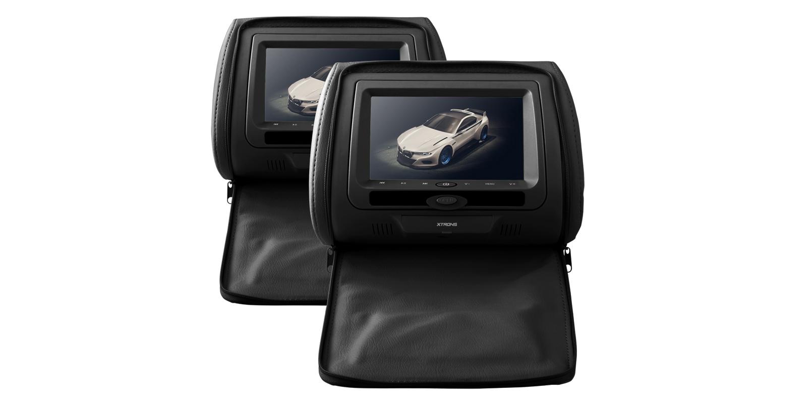 (HD705)7インチ 高画質 ヘッドレストモニター DVDプレーヤー ゲーム機能 USB SD 2個セット (ブラック)