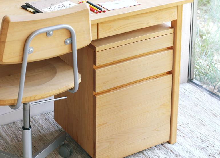男女兼用 3段ワゴンL お買い得品 学習机収納 シンプル 国産 木製 無垢材 ひのき