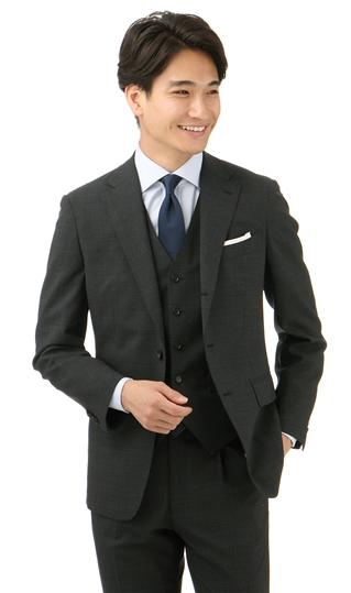 春夏用 ブラック系 【ストレッチ】【スリーピース】【3つ釦段返り】スタイリッシュスーツ PERSON'S FOR MEN PURPLE LABEL