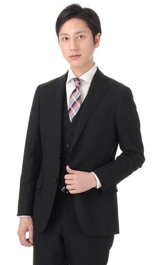 春夏用 ブラック系 スタイリッシュスーツ《スリーピース》 Mr.JUNKO II世