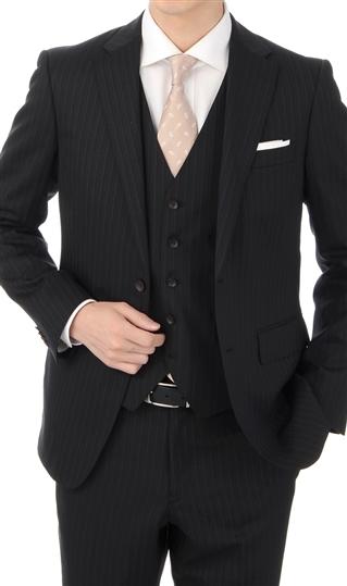 オールシーズン用 ブラック系 【ストレッチ】【形状記憶プリーツ】【スリーピース】スタイリッシュスーツ PERSON'S FOR MEN